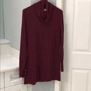 Maroon cowl neck tunic